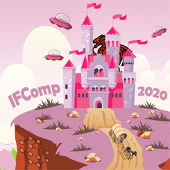 Cartoon depicting a computer sitting on a lunar surface. It is surrounded by number of objects and creatures suggesting past IFComp winners: a pig, a rocketship, a plate with a taco on it, et cetera. The pig waves a banner emblazoned with 'IFComp!'