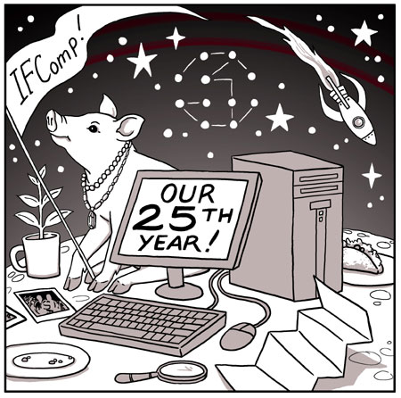 Cartoon depicting a computer sitting on a lunar surface, its screen reading 'Our 25th Year!' It is surrounded by number of objects and creatures suggesting past IFComp winners: a pig, a rocketship, a plate with a taco on it, et cetera. The pig waves a banner emblazoned with 'IFComp!'